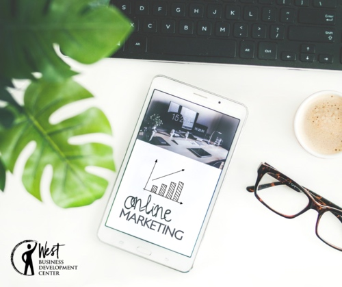 Image: Online marketing report with keyboard and glasses