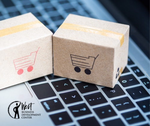 Image: 2 packages with cart symbols over keyboard - eCommerce 101