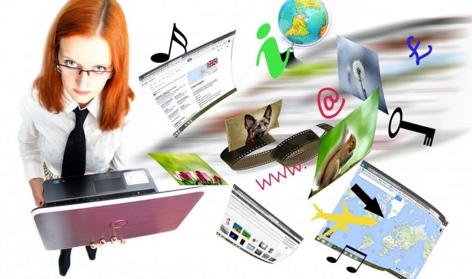 Image: bemused woman surrounded by online imagery - Creating and Managing Your Website with WordPress