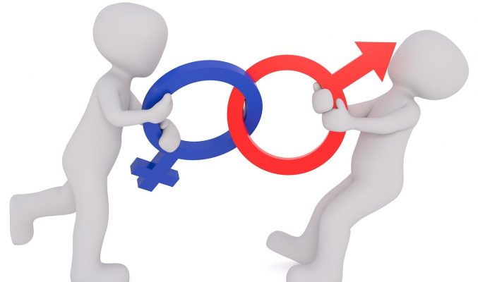 Image: male and female figures tugging at interlinked symbols - role-playing gender communications
