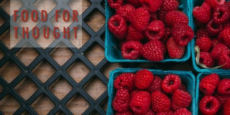 "Image: ""Food for Thought"" sign with raspberries"