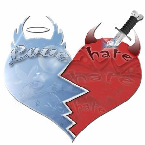 """Image: heart with """"love"""" written on one side and """"hate"""" on the other"""
