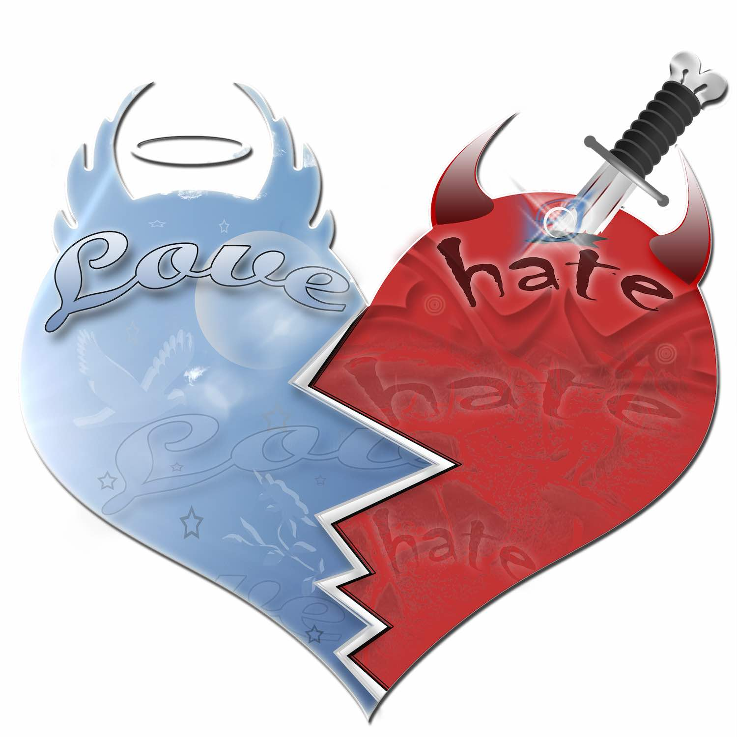 "Image: heart with ""love"" written on one side and ""hate"" on the other"